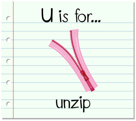 unzip: Flashcard letter U is for unzip illustration