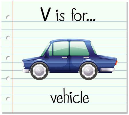 english letters: Flashcard letter V is for vehicle illustration