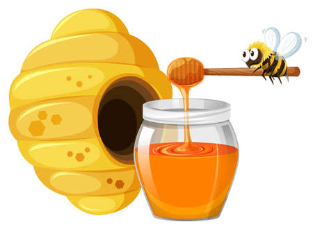 isolated ingredient: Bee and honey in jar illustration