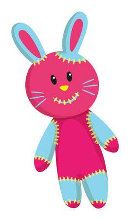 pink rabbit: Pink rabbit with blue ears illustration Illustration