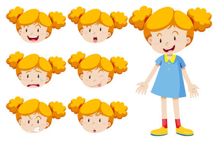 angry teenager: Little girl with facial expressions illustration