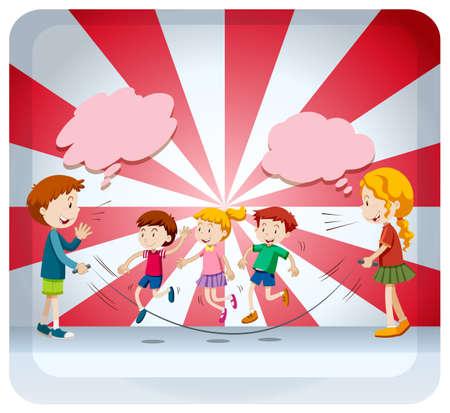 adolescent girl: Children jumping rope together illustration Illustration