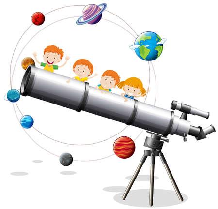 Childrean and giant telescope illustration