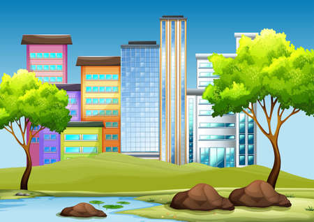 outside the house: Buildings and park in the city illustration