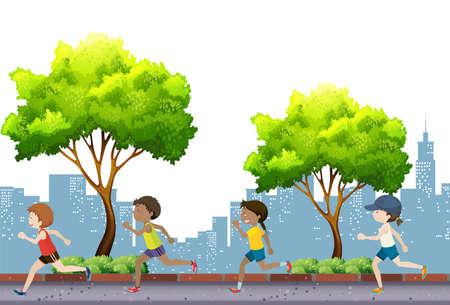 jogging in park: People jogging in the park illustration