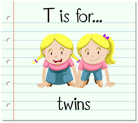 Flashcard letter T is for twins illustration
