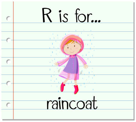 downpour: Flashcard letter R is for raincoat illustration Illustration