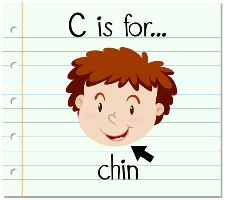 Flashcard letter C is for chin illustration Illustration