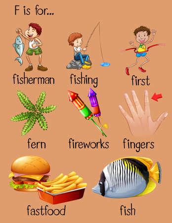 finger fish: Words begin with letter F illustration