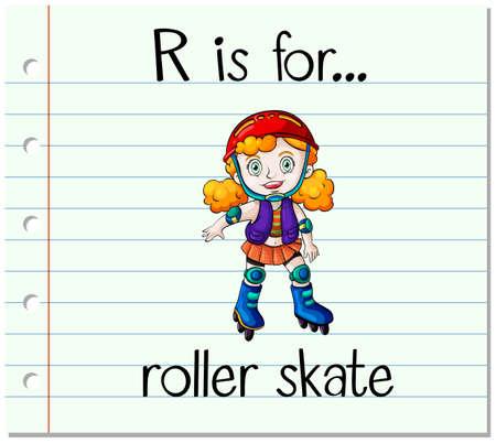 spells: Flashcard letter R is for roller skate illustration