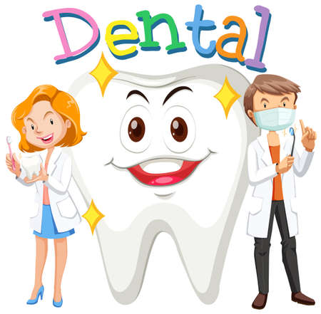 dental: Dentists and clean tooth illustration
