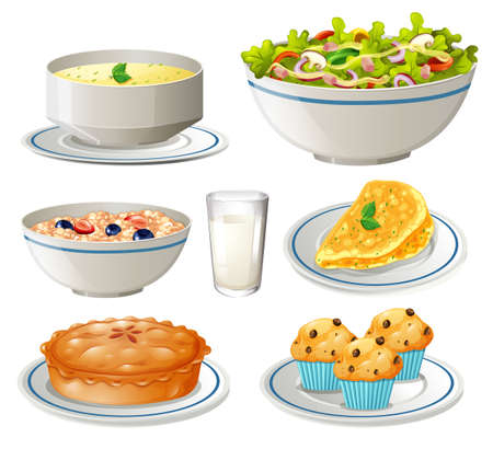 Different kind of food on plates illustration