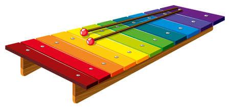 xilofono colorato con bastoni illustrazione