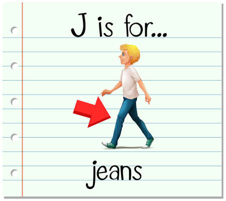 phonics: Flashcard letter J is for jeans illustration
