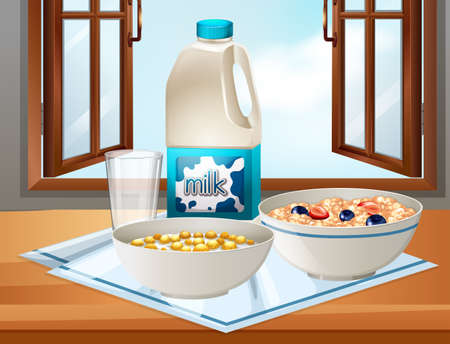 breakfast cereal: Breakfast on table with milk and cereal illustration Illustration