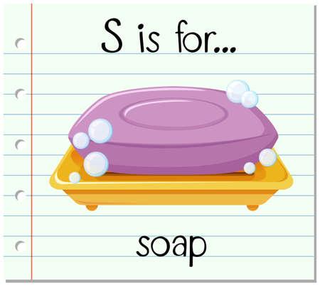 Flashcard letter S is for soap illustration