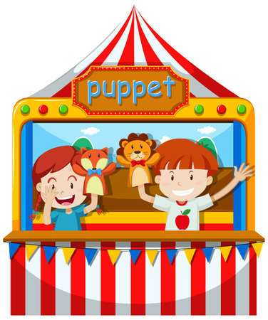 puppet show: Children perform puppet show on stage illustration Illustration