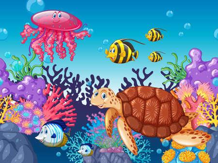 creature: Sea animals swimming under the ocean illustration