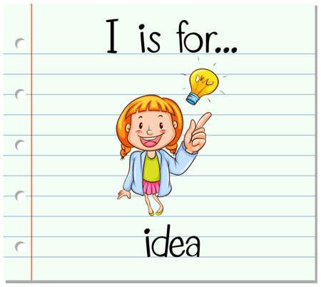 smart card: Flashcard letter I is for idea illustration Illustration