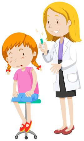 flu shot: Doctor healing little girl illustration Illustration