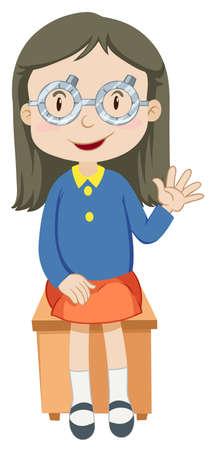 medica: Girl having eyes checked illustration