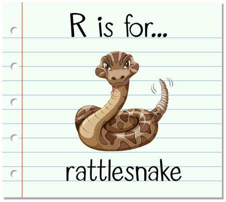 rattlesnake: Flashcard letter R is for rattlesnake illustration Illustration