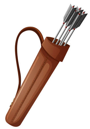 dangerous weapons: Archery arrows in brown bag illustration