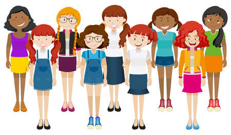 happy woman: Group of happy woman standing together illustration Illustration
