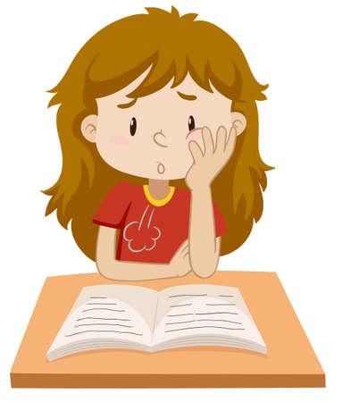 Girl reading book on the table illustration Illustration