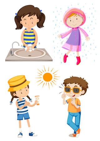 Children doing different activities illustration Фото со стока - 55999696