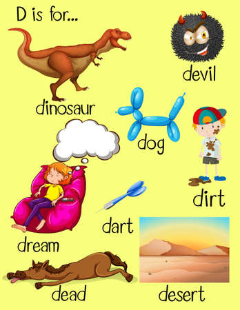 Alphabet D and many words illustration