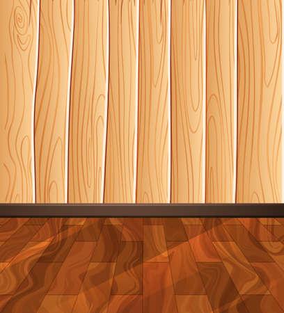 Suelo de madera de la pared y la ilustración