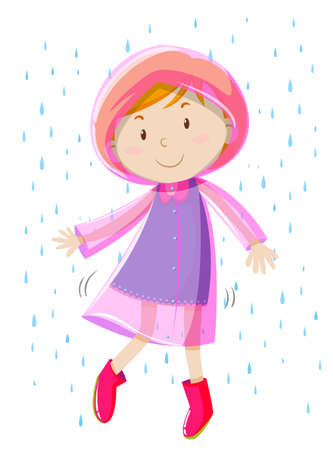 downpour: Girl in pink raincoat illustration