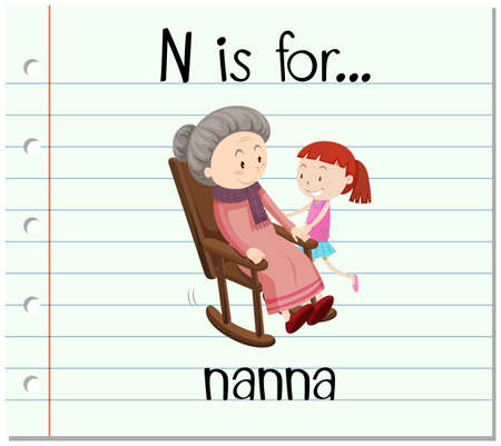 woman girl: Flashcard letter N is for nanna illustration
