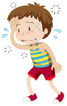 Little boy having hyperthermia illustration