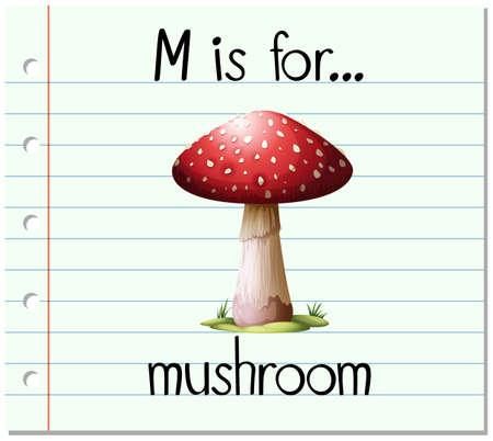 vegetable gardening: Flashcard letter M is for mushroom illustration Illustration