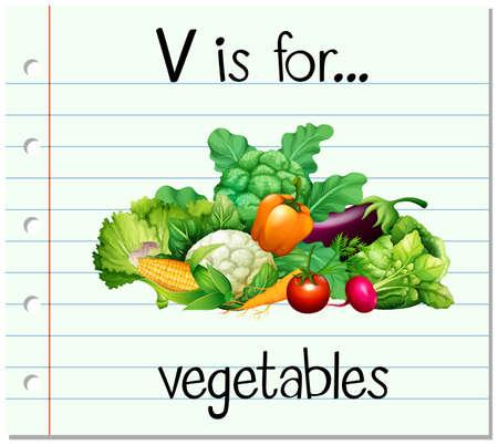 v alphabet: Flashcard letter V is for vegetables illustration