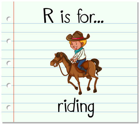 r image: Flashcard letter R is for riding illustration