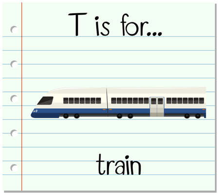 Flashcard letter T is for train illustration