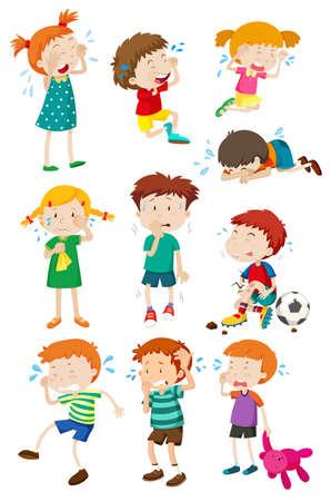 Jongens en meisjes huilen illustratie