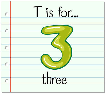 countable: Flashcard letter T is for three illustration Illustration