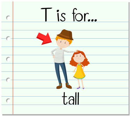 adjective: Flashcard letter T is for tall illustration