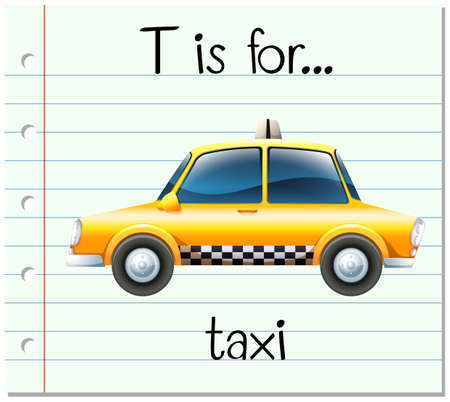 phonetics: Flashcard letter T is for taxi illustration Illustration