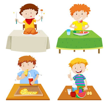 hungry kid: Boys eating at dining table illustration