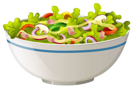 Bowl of green salad illustration Illustration