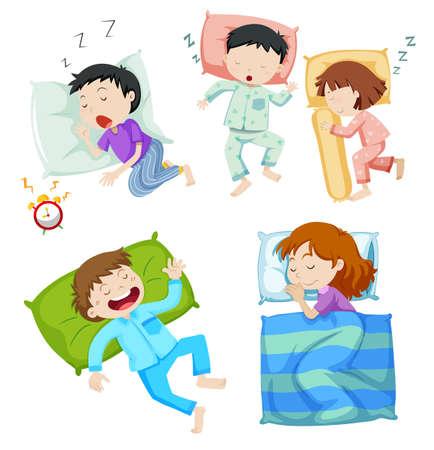 Los niños y las niñas que duermen en la cama de la ilustración