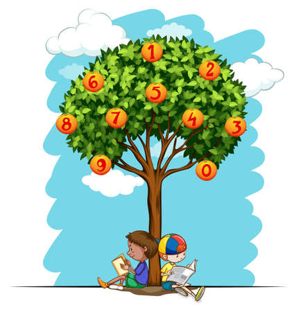 six objects: Numbers on orange tree illustration Illustration