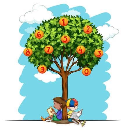 Numbers on orange tree illustration
