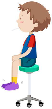 sit: Boy on stool having fever illustration