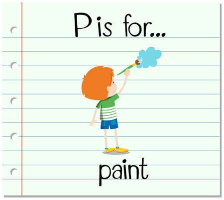 phonetics: Flashcard letter P is for paint illustration Illustration